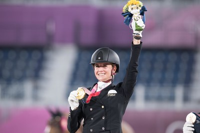 Germany's Jessica von Bredow-Werndl claimed the Individual Dressage title at the Tokyo 2020 Olympic Games with victory in the Freestyle partnering the lovely mare TSF Dalera at Baji Koen Equestrian Park tonight. (FEI/Shannon Brinkman)